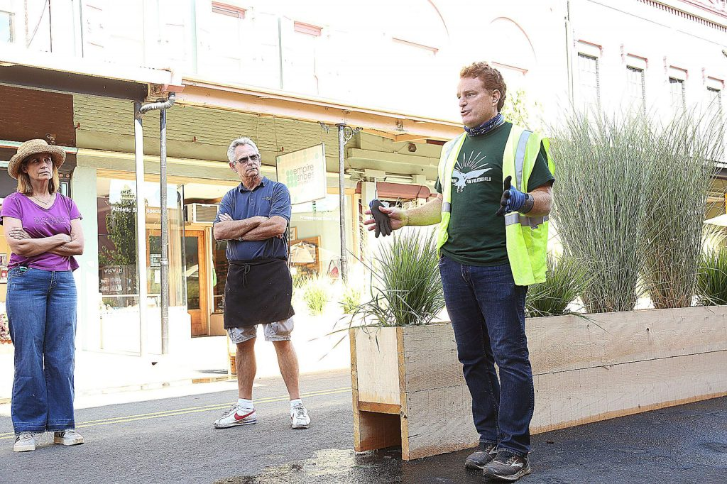 Grass Valley City Manager Tim Kiser talks to concerned downtown Grass Valley business owners regarding the changes the city is making to better help accommodate businesses during the coronavirus pandemic.