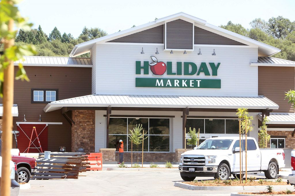 The new Holiday Market going up near the intersection of Highway 49 and Combie Road in south Nevada County is nearing completion.