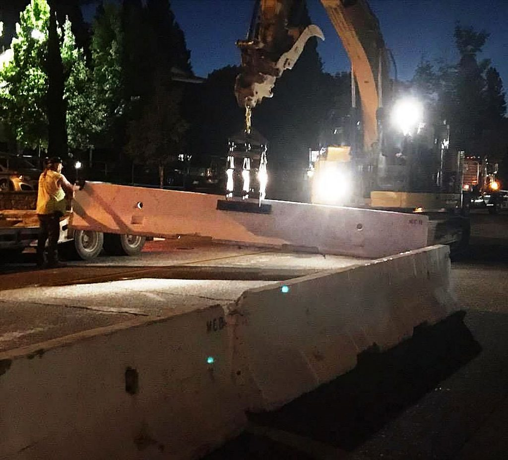 Literally overnight Hansen Bros. Enterprises erected K-rail concrete barriers to establish a pedestrian mall in downtown Grass Valley so restaurants could expand their outdoor seating capacity.