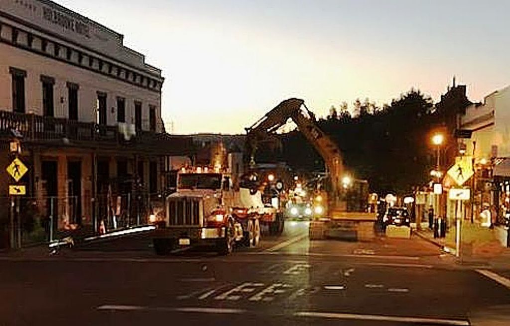 Hansen Bros. Enterprises General Manager and President Jeff Hansen donated some of the K-rails his company installed to create a pedestrian mall along a portion of Mill Street in downtown Grass Valley.