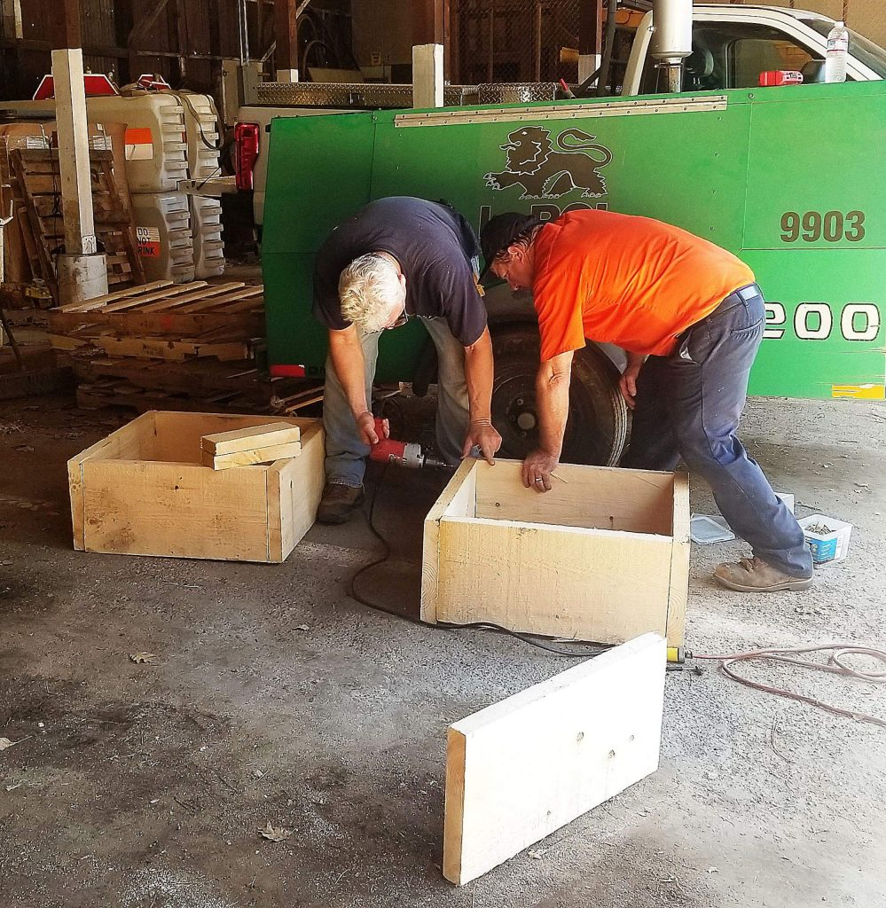 Grass Valley Community Development Director Tom Last and Public Works Senior Maintenance Employee Mark Kangas donned their carpenter hats and hammers to build all planter boxes for the city's new pedestrian mall.