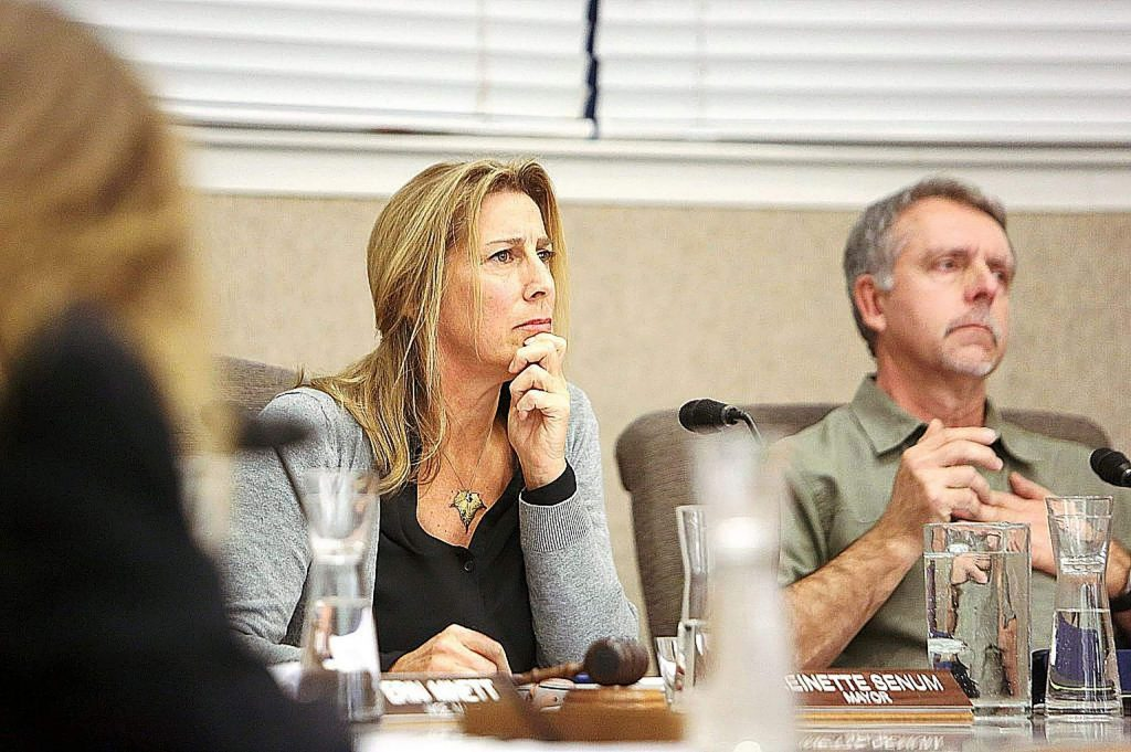 Nevada County Councilwoman Reinette Senum on Wednesday stepped down from her elected position. The move came after hundreds of public commenters called for her to step down or be censured, though Senum said she didn't consider that when making her decision. She is pictured here in a file photo from December.