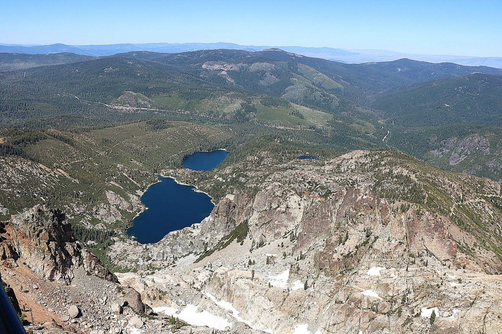 Being the tallest peak in the Sierra Basin in Sierra County you get a bird's eye view of the nearby Sardine, Packer and other mountain lakes.