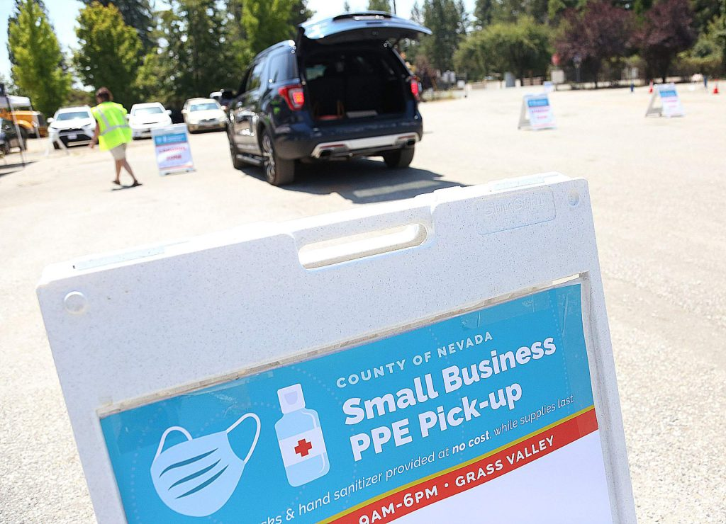 More than 150 volunteers are helping to distribute the government surplus of 310,000 masks and 2,660 gallons of hand sanitizer allocated to Nevada County small businesses. The pickup is scheduled to continue today and Thursday. The giveaway stems from the Office of Emergency Services, which is offering local small business owners with 25 or less employees a 30-day supply of masks and hand sanitizer for each employee. The program is intended to reach small local businesses and organizations, with a focus on hard-to-reach businesses and nonprofits.