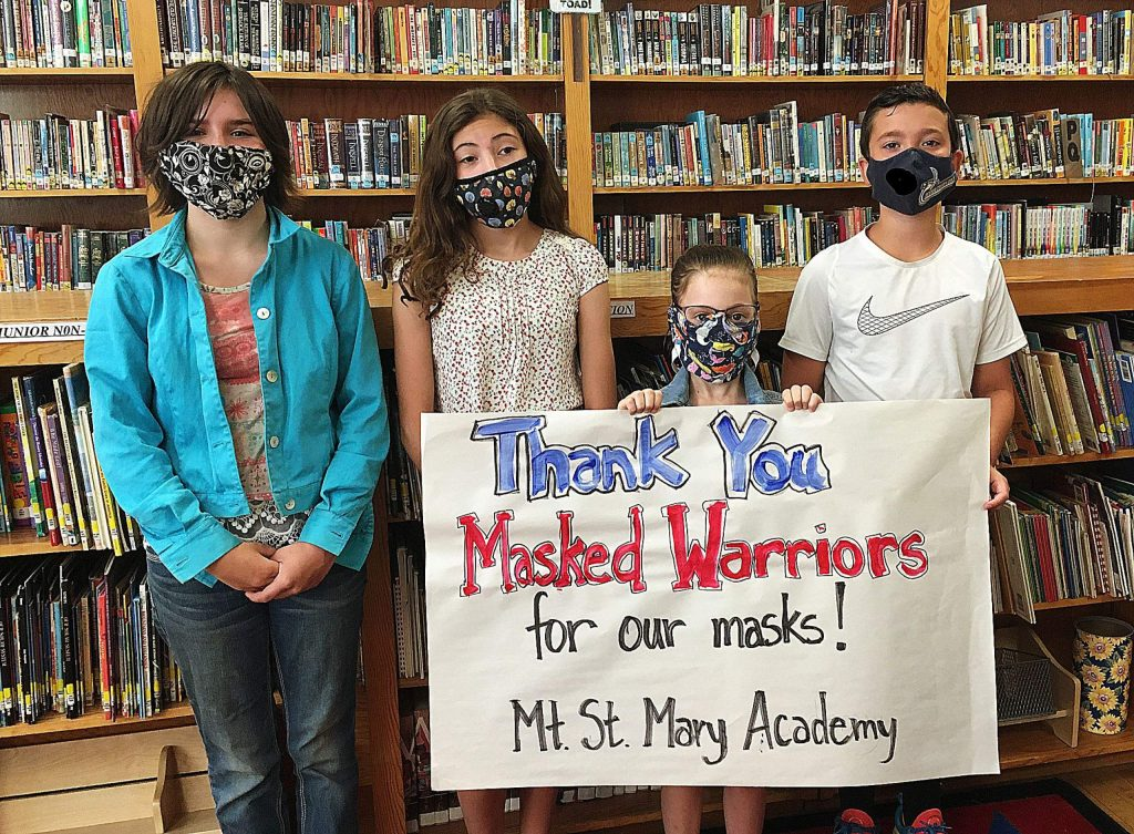 Students at Mt. St. Mary Academy in Grass Valley thank the Masked Warriors for their gracious donation of hand-sanitizer and over 100 hand-made masks for the school's summer program and for the start of school.