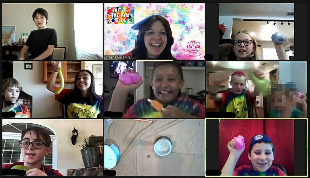 Chabad of Grass Valley's Jewish summer camp engages campers on zoom with camp t-shirts, fun activities and more.