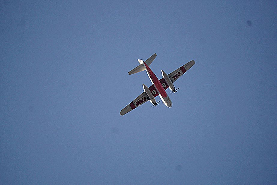 A Cal Fire plane fighting the fire in Deer Creek, June 29.