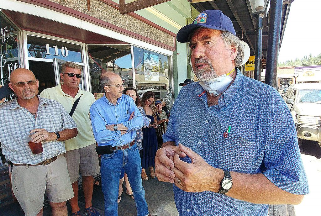 California Congressman Doug LaMalfa stands in front of a gathering of Nevada County business owners and community members upset with the recent setbacks to the state's reopening plan.