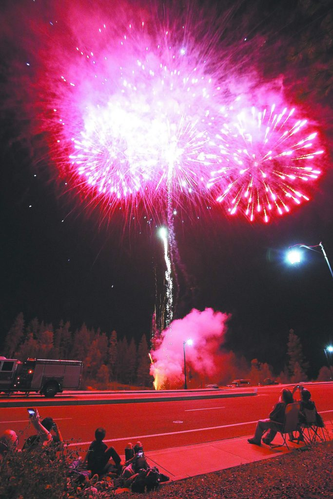 Grass Valley's stay-at-home fireworks show, held in place of the display that usually occurs at the Nevada County Fairgrounds, went off much to the public's enjoyment from the Dorsey Drive overpass.