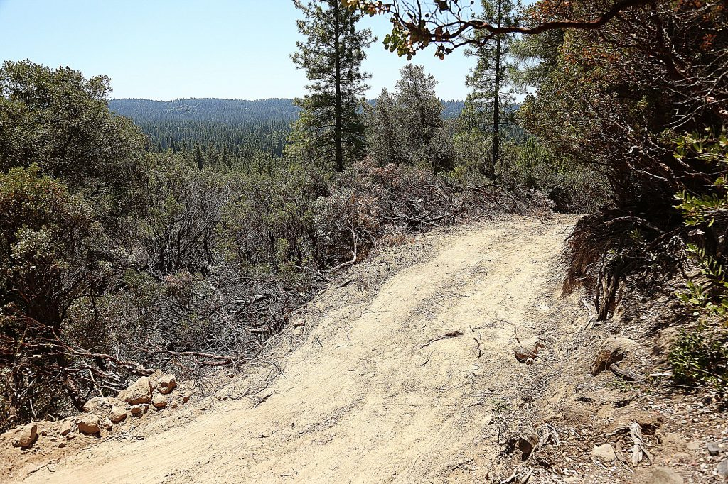 An easement widened to help access and clean up homeless encampments on Sugarloaf Mountain outside of Nevada City.