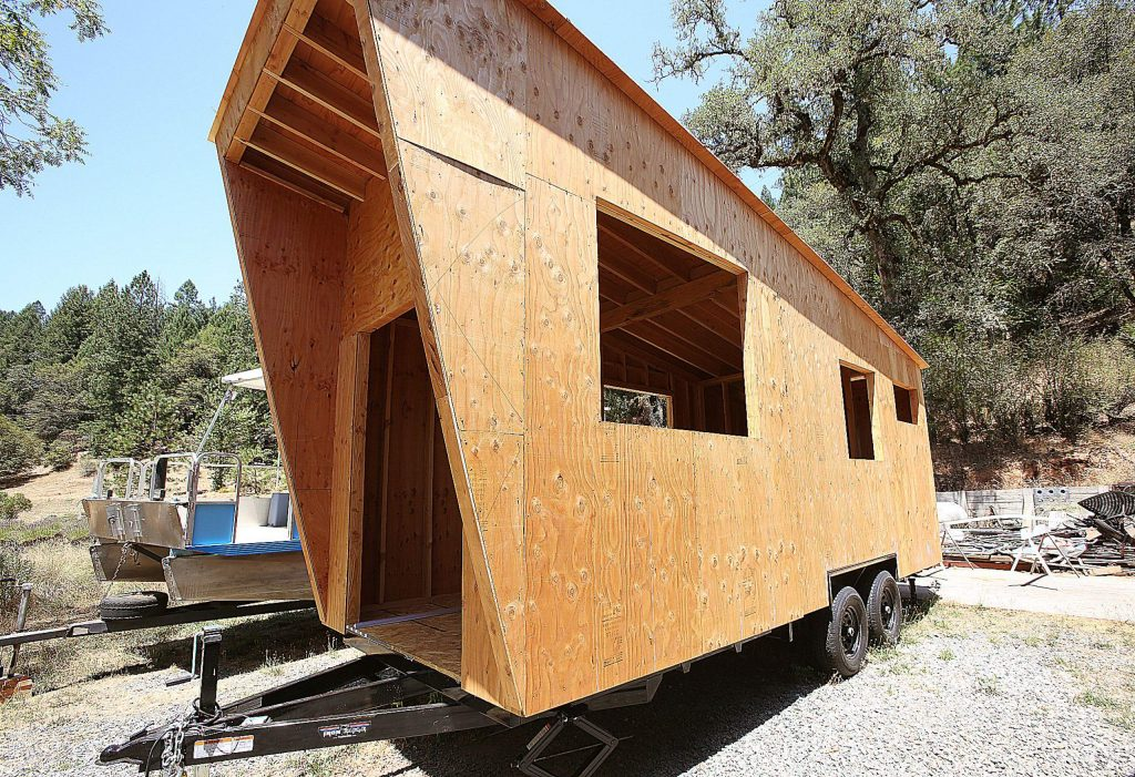 The Root's tiny home sits on a metal frame trailer that would allow for it to be transported along roadways.