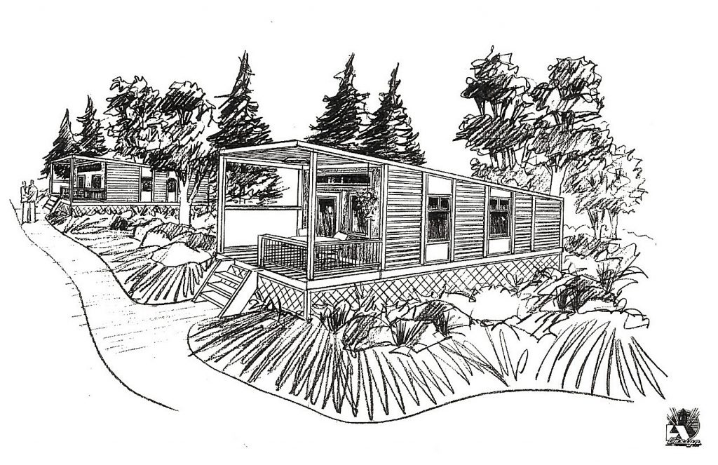 A rendering of an installed tiny home for the This Is Now Your Home project.