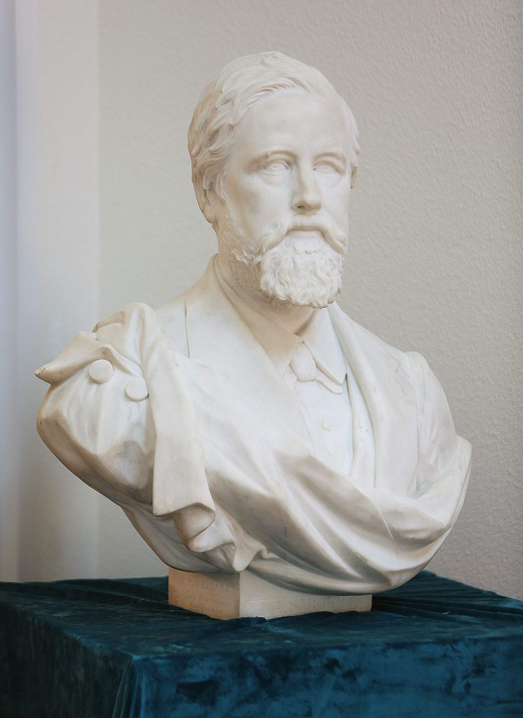 The bust of A.A Sargent sits on display in the entryway of the Searls Historical Library in Nevada City.