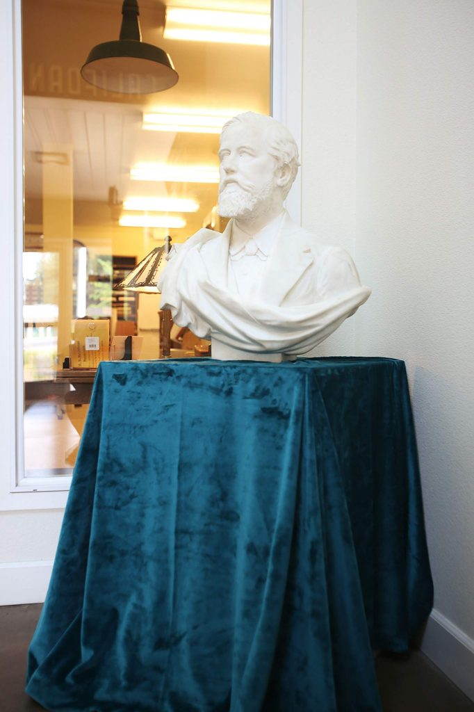Though the Searls Historical LIbray is currently closed to the public, the bust of A.A. Sargent can still be seen.
