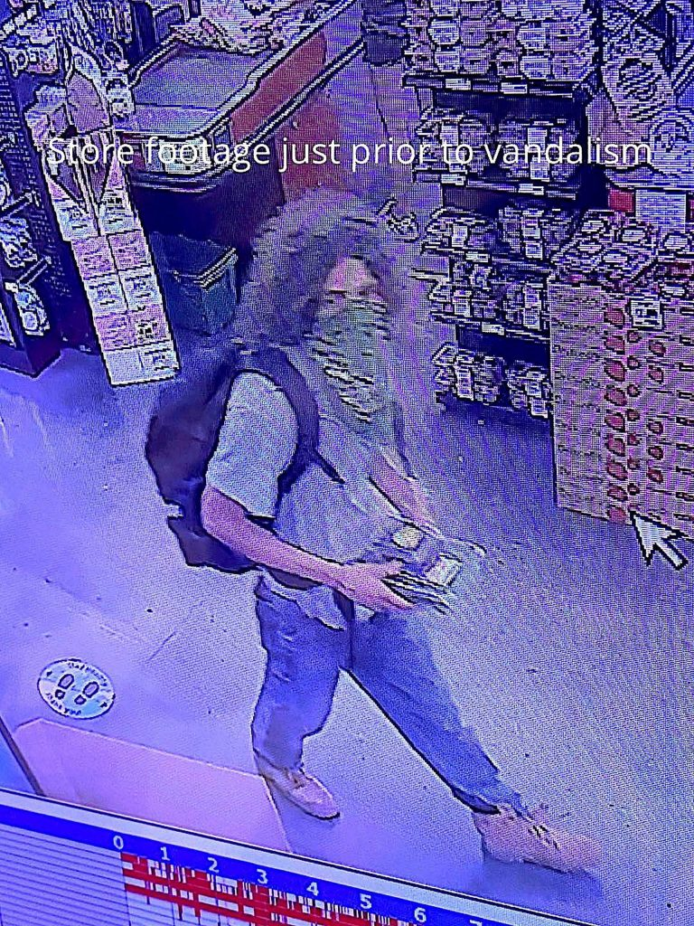 Police were able to find video from a retail establishment in Grass Valley showing the suspect make a purchase a short time before the vandalism occurred.