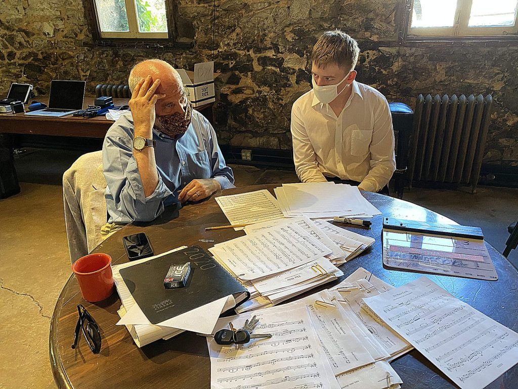 Nikita Khryapin, 16, reviews the score for his horn quintet, Life of a Raven, with Mark Vance.