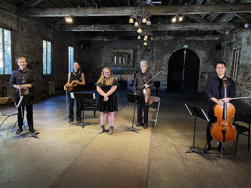 Lydia Fuller-Hall, 17, stands with musicians who performed her string quartet, Death of Rebirth. L to R: Richard Altenbach, violin; Kristen Autry, violin; David Thorp, viola; Jia-mo Chen, cello.