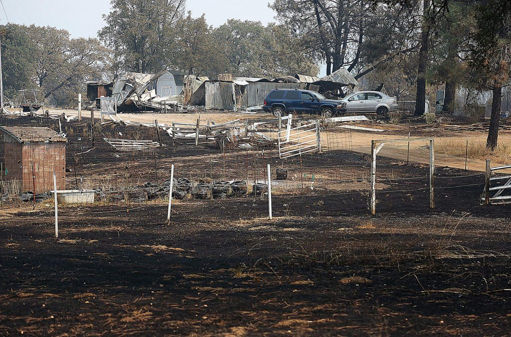 A home in the path of the Jones Fire succumbed to the flames in Nevada County's Newtown area.
