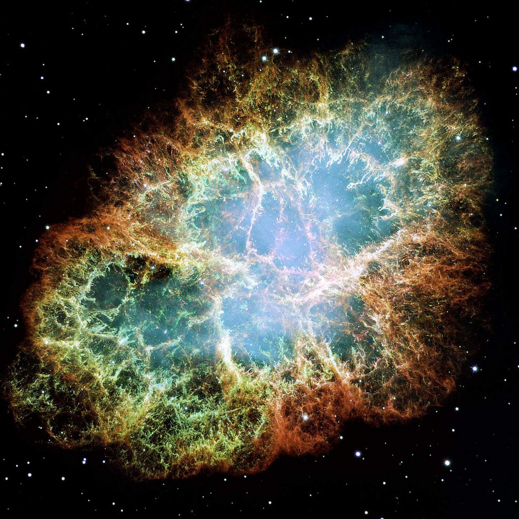 This Hubble image gives the most detailed view of the entire Crab Nebula ever. The Crab is among the most interesting and well studied objects in astronomy. This image is the largest image ever taken with Hubble's WFPC2 camera. It was assembled from 24 individual exposures taken with the NASA/ESA Hubble Space Telescope and is the highest resolution image of the entire Crab Nebula ever made.