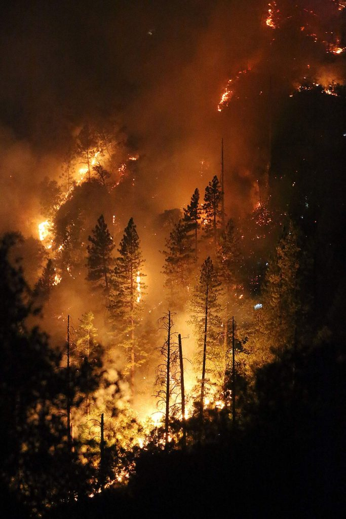The  Jones Fire burns up a slope of the South Yuba River Canyon.