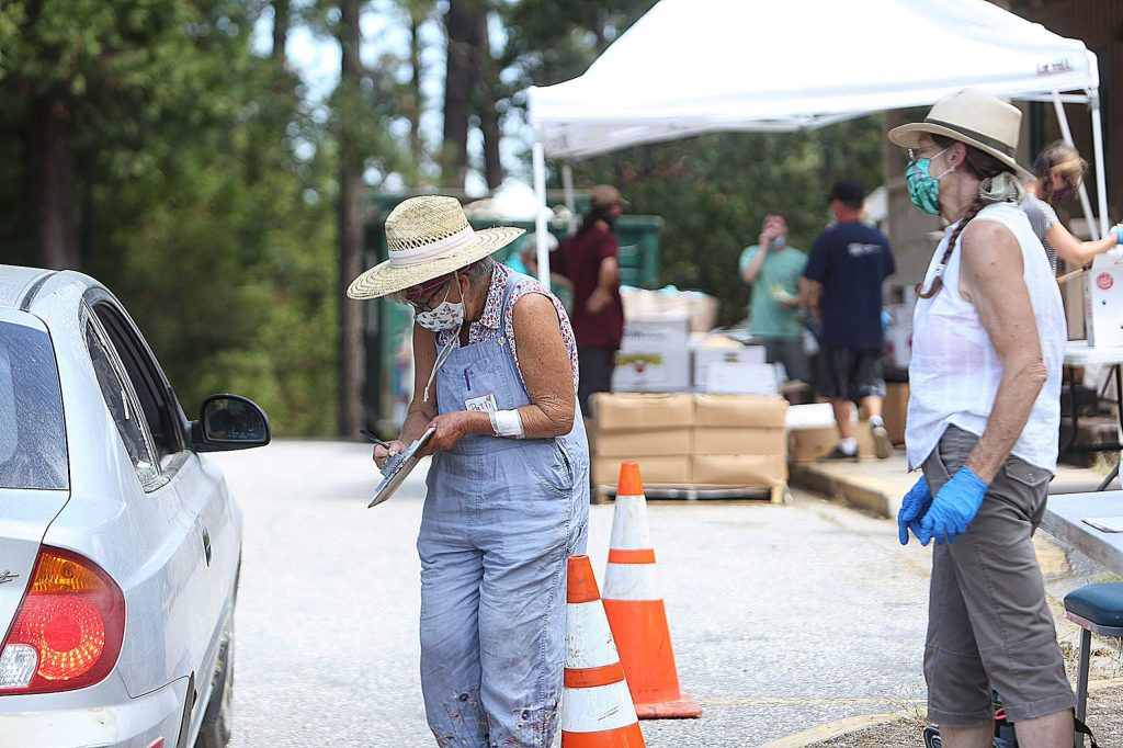 Attendees to the Food Bank of Nevada County's North San Juan food distribution are asked the number of people in their family when coming through the drive-thru food pickup. No ID, paperwork or pre-registration is necessary.