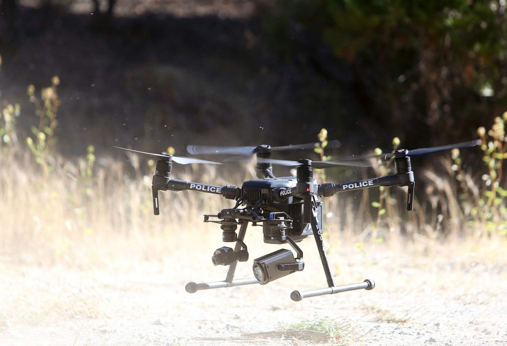 The Grass Valley Police Department drone is equipped with a high powered zoom lens camera as well as an infrared camera utilized to help find people and illegal campfires.