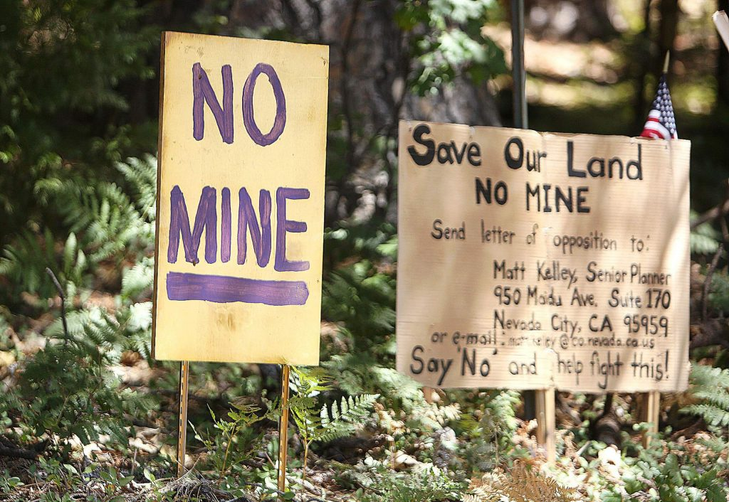 Signage at the intersection of Brunswick and East Bennett roads, near where the shuttered Idaho-Maryland mine is, have shown that there is already some opposition building to the proposed reopening of the mine.