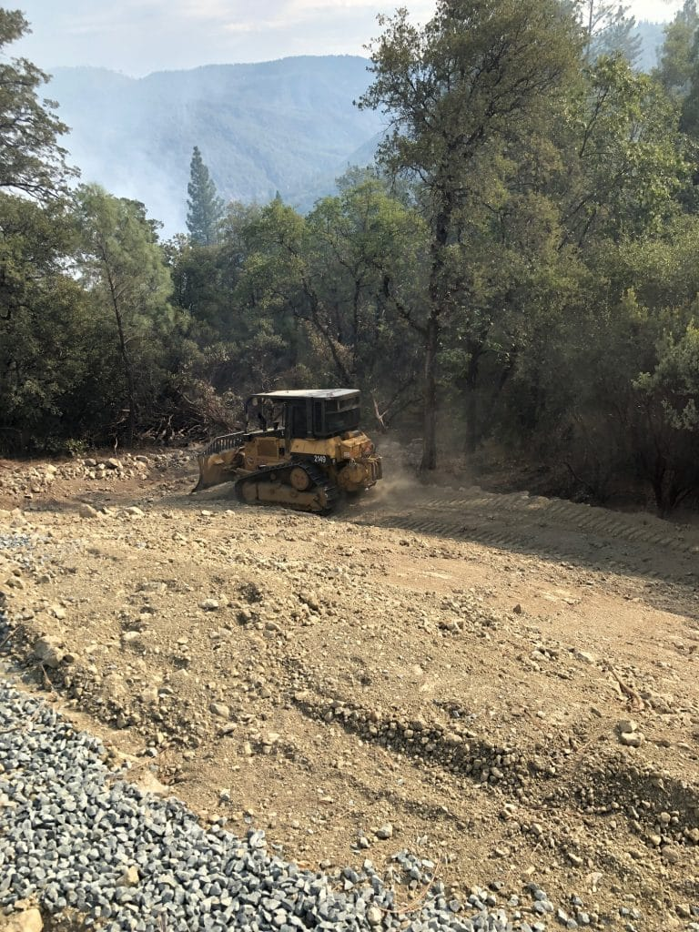 A dozer working it's way to the Jones Fire in Nevada County.