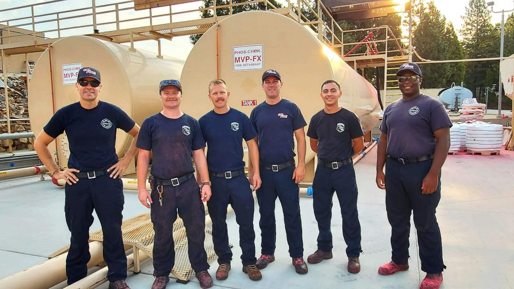 A Cal Fire firefighter crew that was on duty during Day 1 of the Jones Fire, Monday, Aug. 17, when a record 94,826 gallons of retardant were processed through the Grass Valley Air Attack Base.