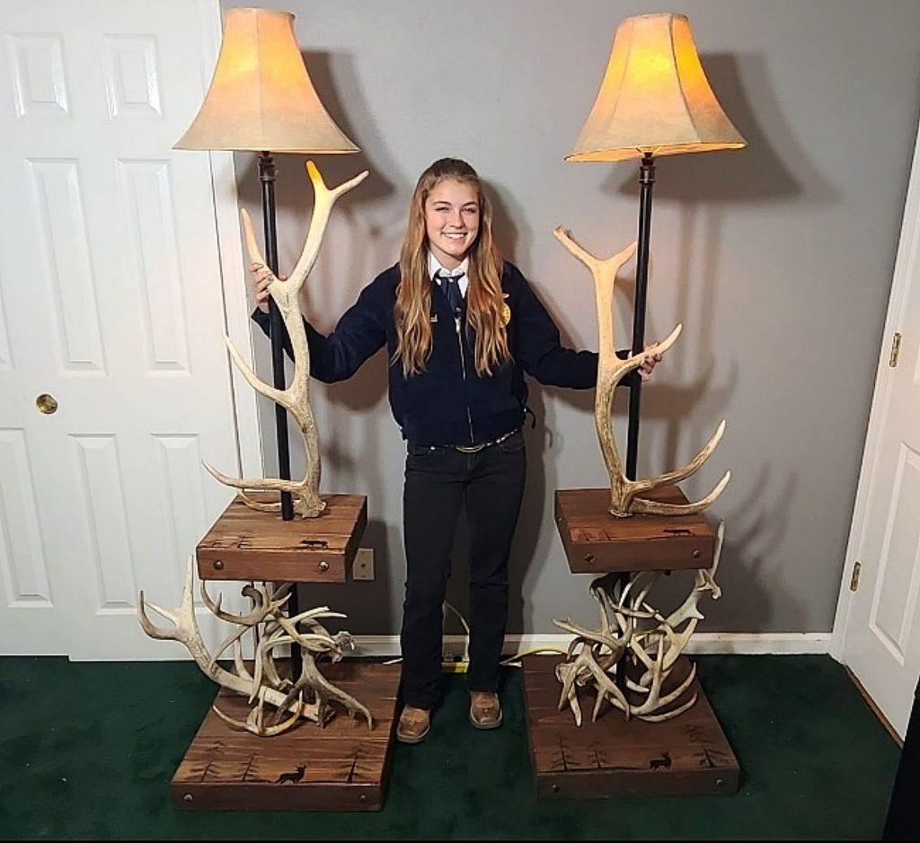 Emmalee Oistad, an incoming junior in Nevada Union High School's FFA, shows off her agricultural mechanics project: antler table lamps with hand-burned scenes on redwood.