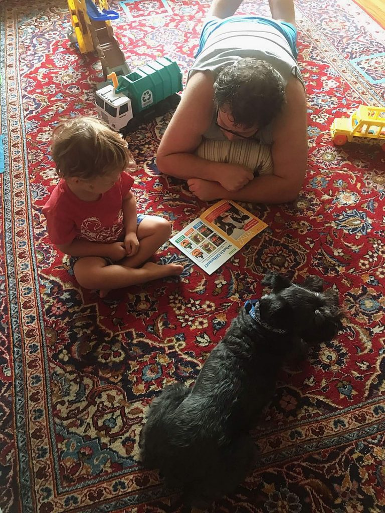 Learning to read with help from dad and pupster.