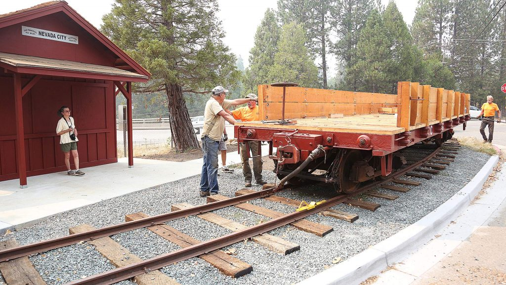The restored railcar is secured in its new place at the end of a 300-foot section of display track at Railroad Avenue and Sacramento Street.