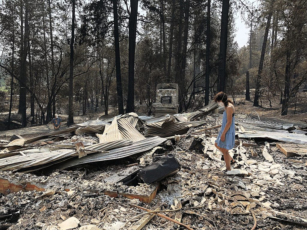 Sierra Streams Institute Executive Director Joanne Hild visited the site where Madrone Hall stood.