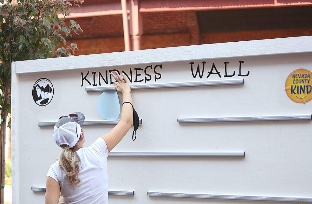 The Kindness Wall in downtown Grass Valley is up and available for people to place their words of encouragement and well wishes for the community.