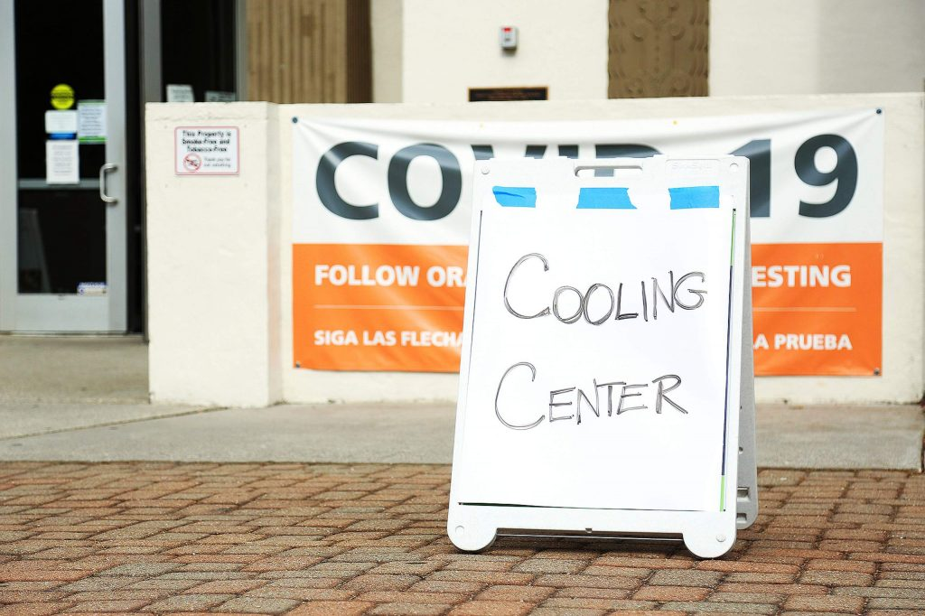 An air conditioned cooling center was set up Saturday at at the Grass Valley Veterans Memorial Building. The cooling center is being moved to the Nevada Union High School multi purpose during the week to allow for the COVID-19 testing to continue unobstructed.
