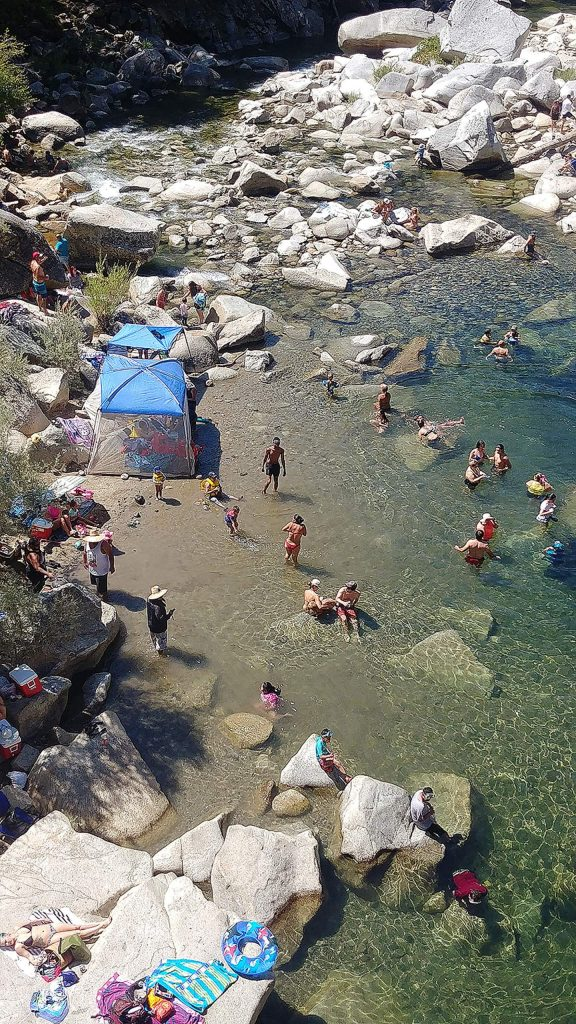 The South Yuba River at the Highway 49 bridge has seen a high number of visitors this year and is expected to be frequented heavily during the heatwave.