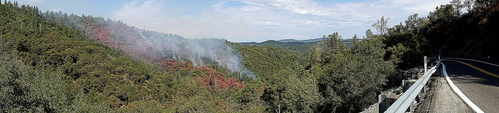 The Jones Fire in the Yuba Canyon started off Jones Bar Road early Monday. In the morning air attack by air tanker was used on the fire as fire crews had to find a way to the blaze.