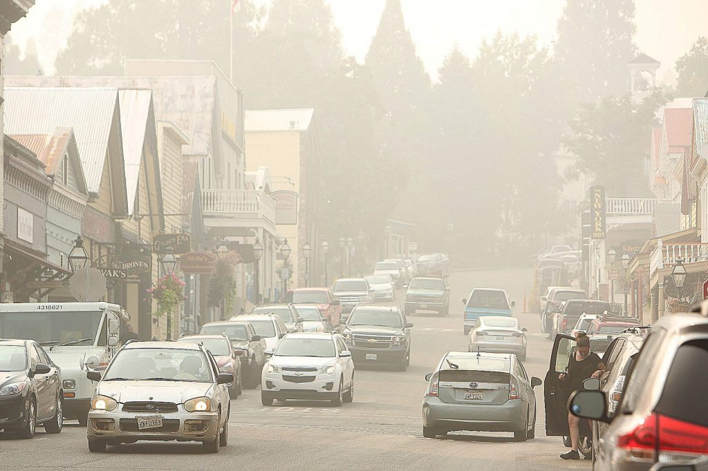 Air quality has deteriorated to unhealthy levels across many Northern California communities due to increased smoke from the many wildfires burning across the region. That hasn't kept people from venturing into downtown Nevada City or Grass Valley to shop and eat at restaurants. Saturday's air quality index read unhealthy at 365 pm 2.5 in western Nevada County,