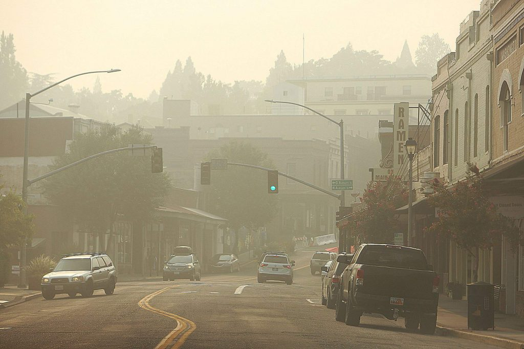 Downtown Grass Valley was a smoke filled haze during Saturday's hazardous air quality day. Western Nevada County recorded a pm2.5 air quality index rating of 365. 0-50 is good, 201-300 very unhealthy, while anything over 301 is considered hazardous.