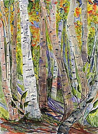 Acrylic and watercolor paintings by Judy Adams.