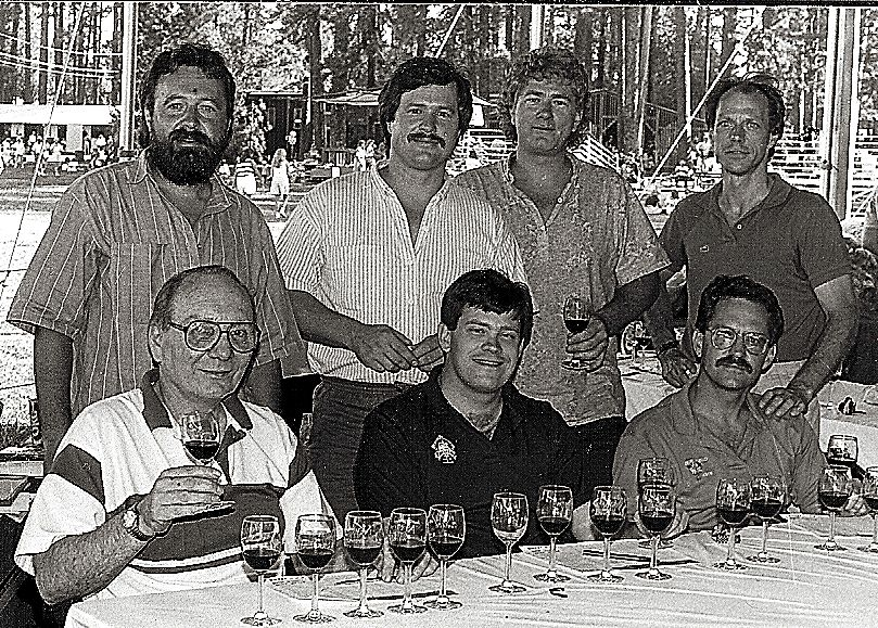 Judges at the Nevada County Fair wine competition circa 1990. Back row left to right, Ron Goodspeed, Richard Buckley, Greg Cook and Rod Byers.