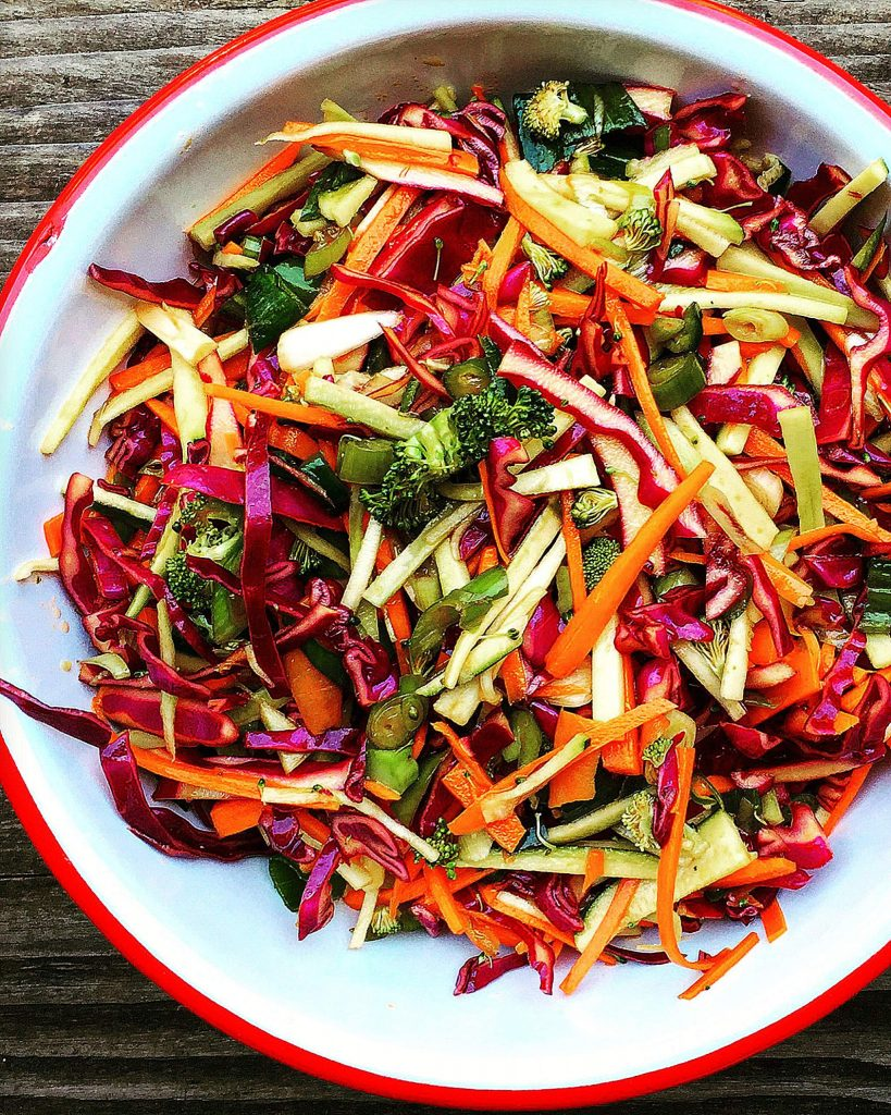 This coleslaw is substantial, and while it's the tail end of the summer season, it's equally suited for a fall barbecue and more meaty cool-weather meals.