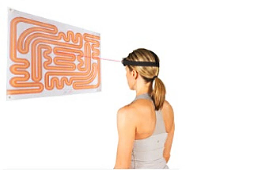 Patient wearing a laser headlamp and following various paths on a laser target to improve cervical fine motor control. These exercises, among many others, performed in physical therapy clinics, can improve signs and symptoms of concussion.