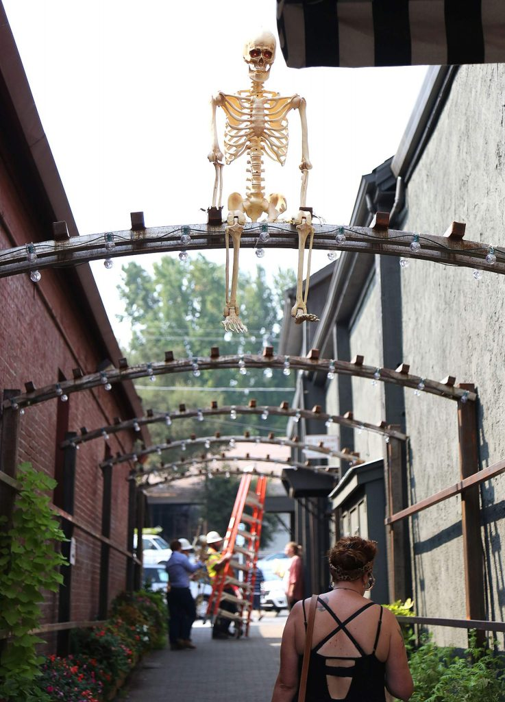 Halloween decorations have begun to appear in downtown Grass Valley.