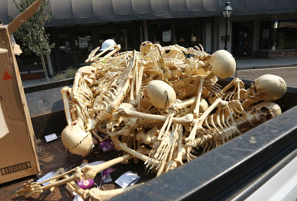 A pile of skeltal Halloween decorations wait to be placed along Mill Street by Grass Valley employees Wednesday.