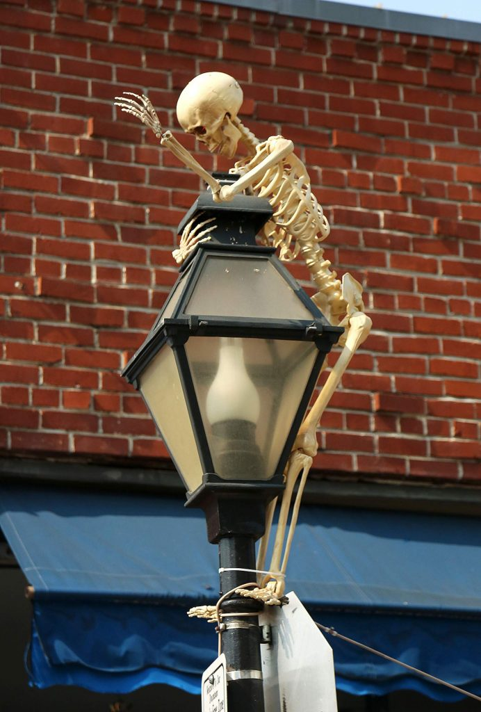 A skeleton with red eyes can be seen welcoming people to the walkable downtown at the intersection of Mill and Neal streets.
