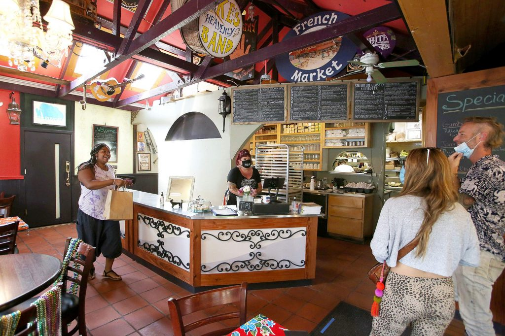 A new ordering counter has been installed at Ike's Quarter Cafe in downtown Nevada City to help aid in social distancing requirements.