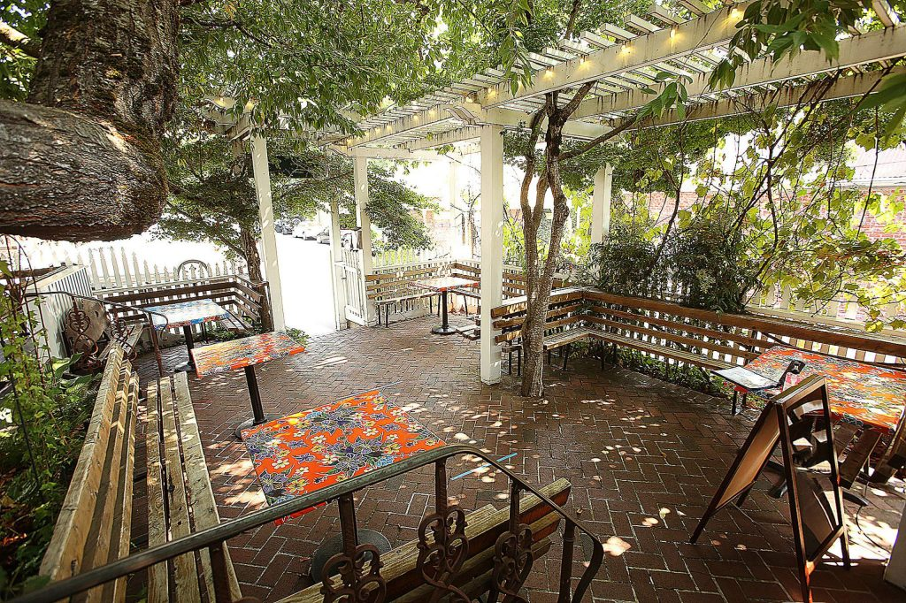 The spacious outdoor dining area of Ike's Quarter Cafe in Nevada City is once again ready to welcome customers.
