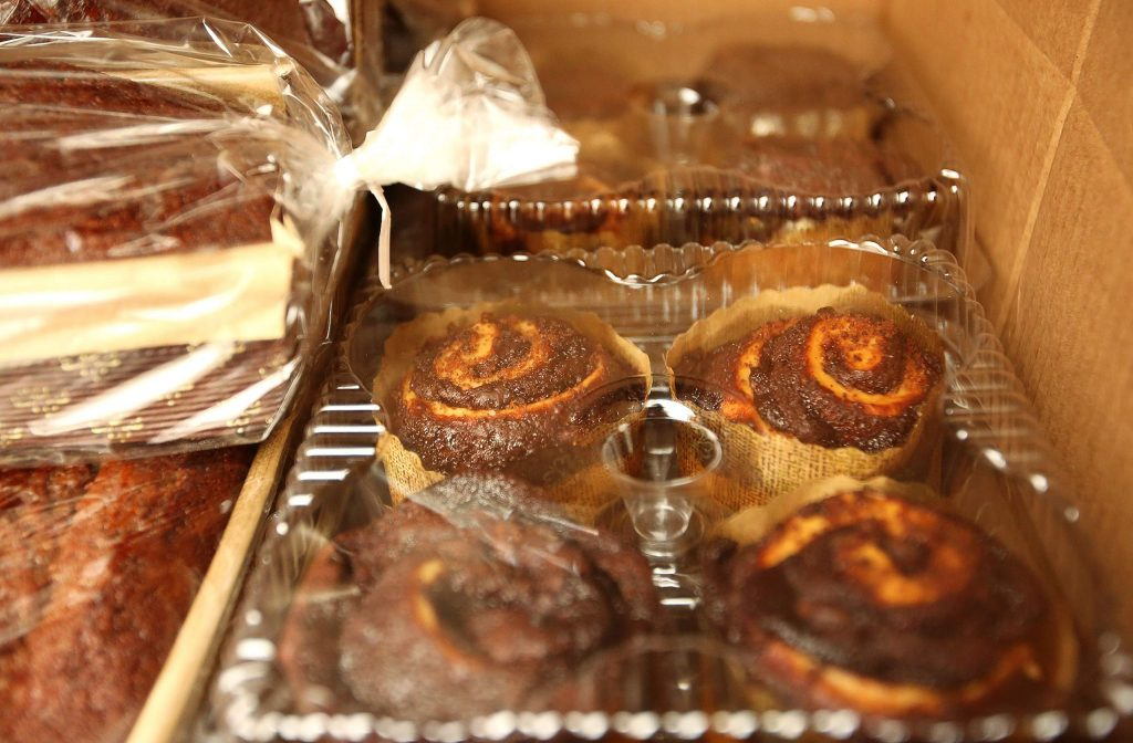 Items such as Challah, a variety of bagels, sweet and savory babka, rugelach, sufganiyot, pastries and honey cake for Rosh Hashanah were available. Pita Za'atar with sides of hummus, babaganoush, matbucha, Romanian eggplant dip and their famous burekas and stuffed sambusak pockets were all brought to Grass Valley from San Francisco's Frena Bakery.