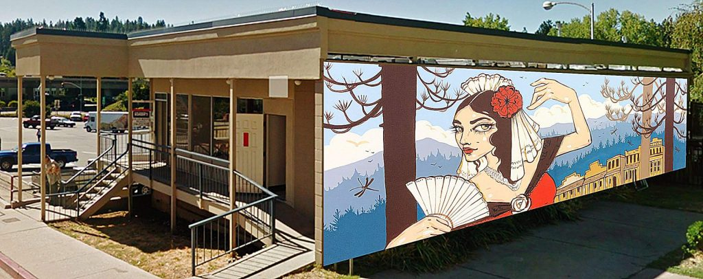 Lola Montez will soon grace the back wall of Sourdough & Co., facing Elizabeth Daniels Park in downtown Grass Valley. There have been a few slight changes to the artwork since this sketch was unveiled several months ago.